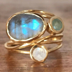 Unique-14K-Gold-Moonstone-Aqua-Blue-Shell-Ring-Wedding-Jewelry-Gifts-Size-6-10