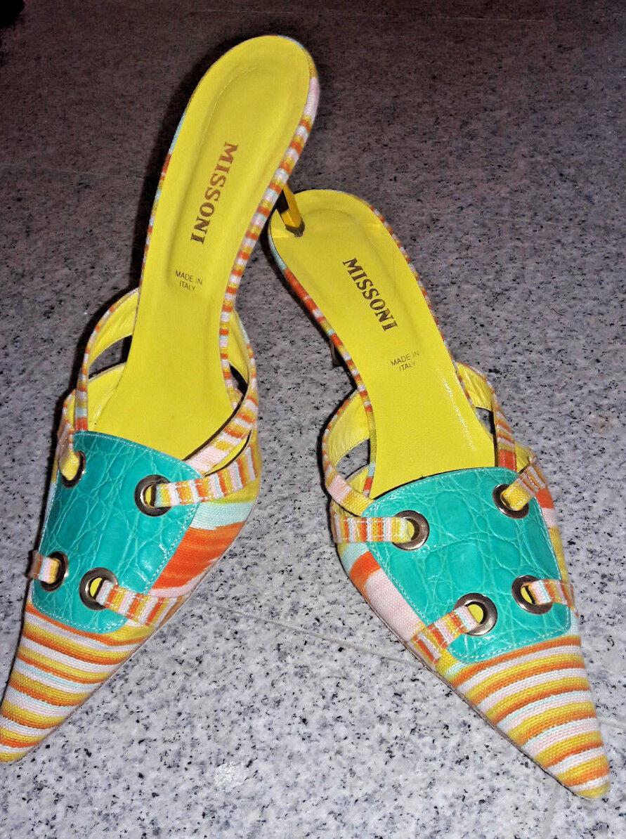 MISSONI gelb-türkis Pantolette 40 Mules Gold Absatz, 40 Pantolette 7a67bc