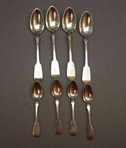 8 Löffel mit Monogramm M. I. - Silber - wohl Frankreich - Spatenform - S4