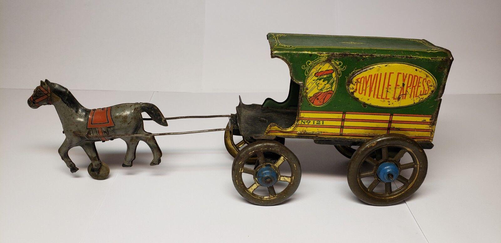 RARE VINTAGE 1930'S CHEIN NONPAREIL HORSE DRAWN TOYVILLE EXPRESS WAGON TIN TOY