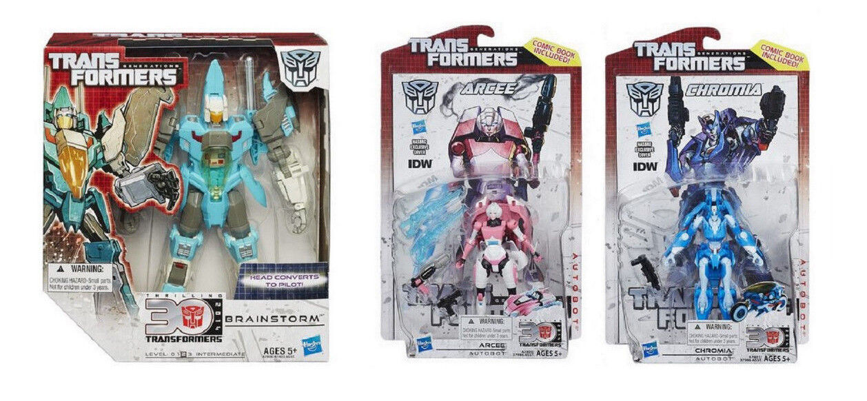 Transformers 30th Anniversary Generations IDW Hasbro ARCEE, BRAINSTORM, CHROMIA