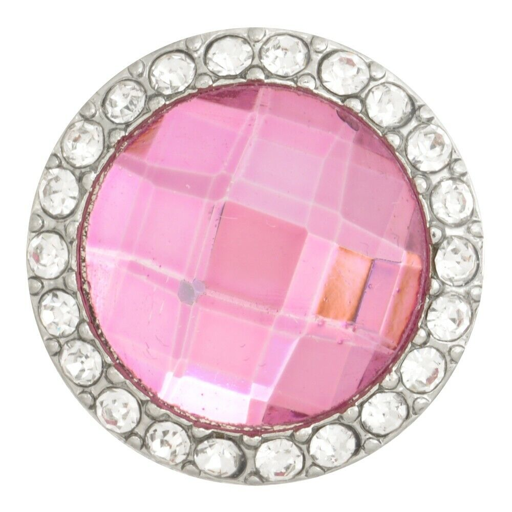 Pink Tourmaline October Birthstone Silver Nugz 18MM Snap Button Style Jewelry