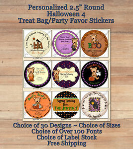 12-HALLOWEEN-FALL-Personalized-ROUND-2-5-034-Treat-Bag-Stickers-4-Crows-Bears-Kids