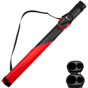 Black//Red 1x1 Deluxe Hard Billiard Pool Cue Stick Carrying Case