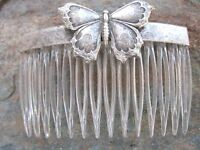 Antiqued Butterfly Silver Plated Clear Hair Combs Vintage Made In Usa