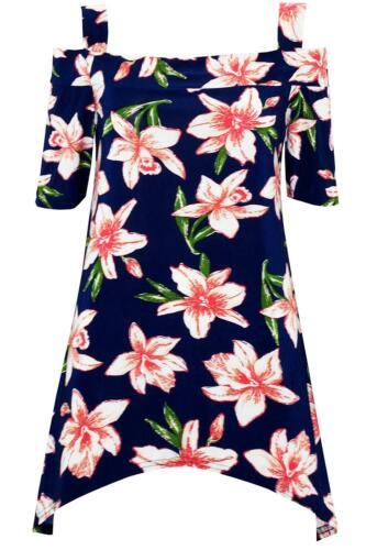 Para mujeres Estampado Floral Holgado Damas Frío CORTADO HOMBRO Pañuelo Dobladillo superior de gran tamaño