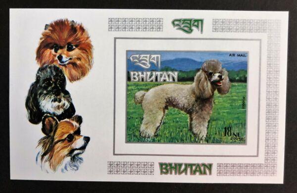 Bhoutan Chien Souvenir Sheet Airmail Stamp 149n Neuf Sans Charnière Imperf 18nu Caniche