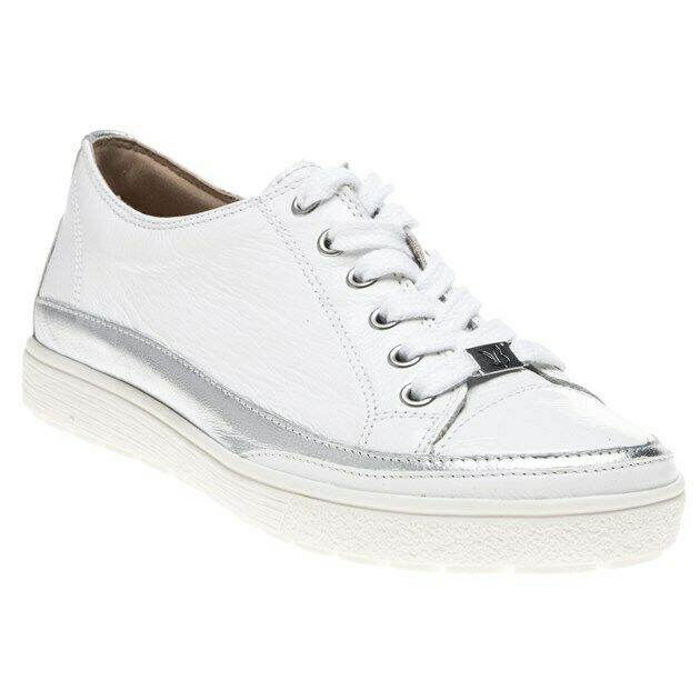 New WOMENS CAPRICE WHITE 23654 LEATHER Sneakers FLATS