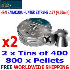 H&N BARACUDA HUNTER EXTREME .177 4.50mm Airgun Pellets 2 (tins)x400pcs HUNTING
