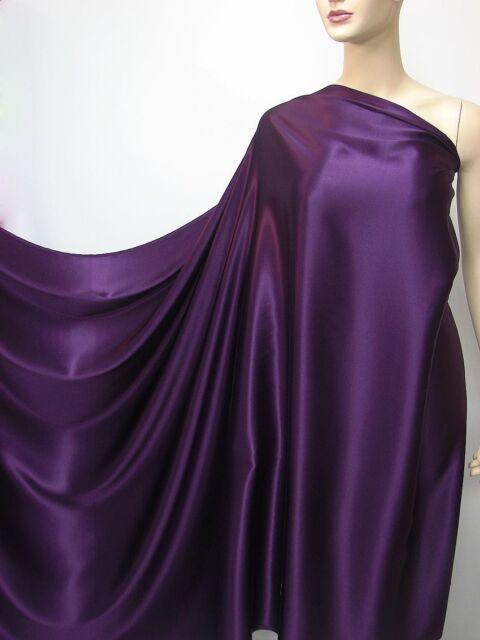 Deep Purple Pure Silk Satin Charmeuse Fashion Fabric per Yard Plain Crepe Back
