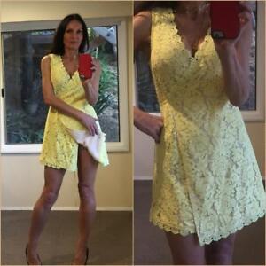 059d7b5e72e  72 BOOHOO NIGHT Yellow Lace WRAP DRESS 8 10 sexy SCALLOPED HEM tie ...
