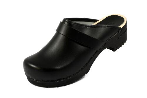 offen Sanita Designer Damen Clogs Rita schwarz mit Holzsohle