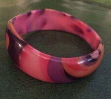 Vintage Mod Swirl Plastic Lucite Tapered Bangle Bracelet Multi Color