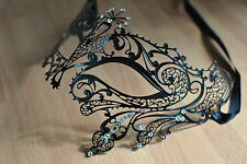 Lovely Venetian  Black  metal diamonte Mask Filigree Masquerade.prom. ball