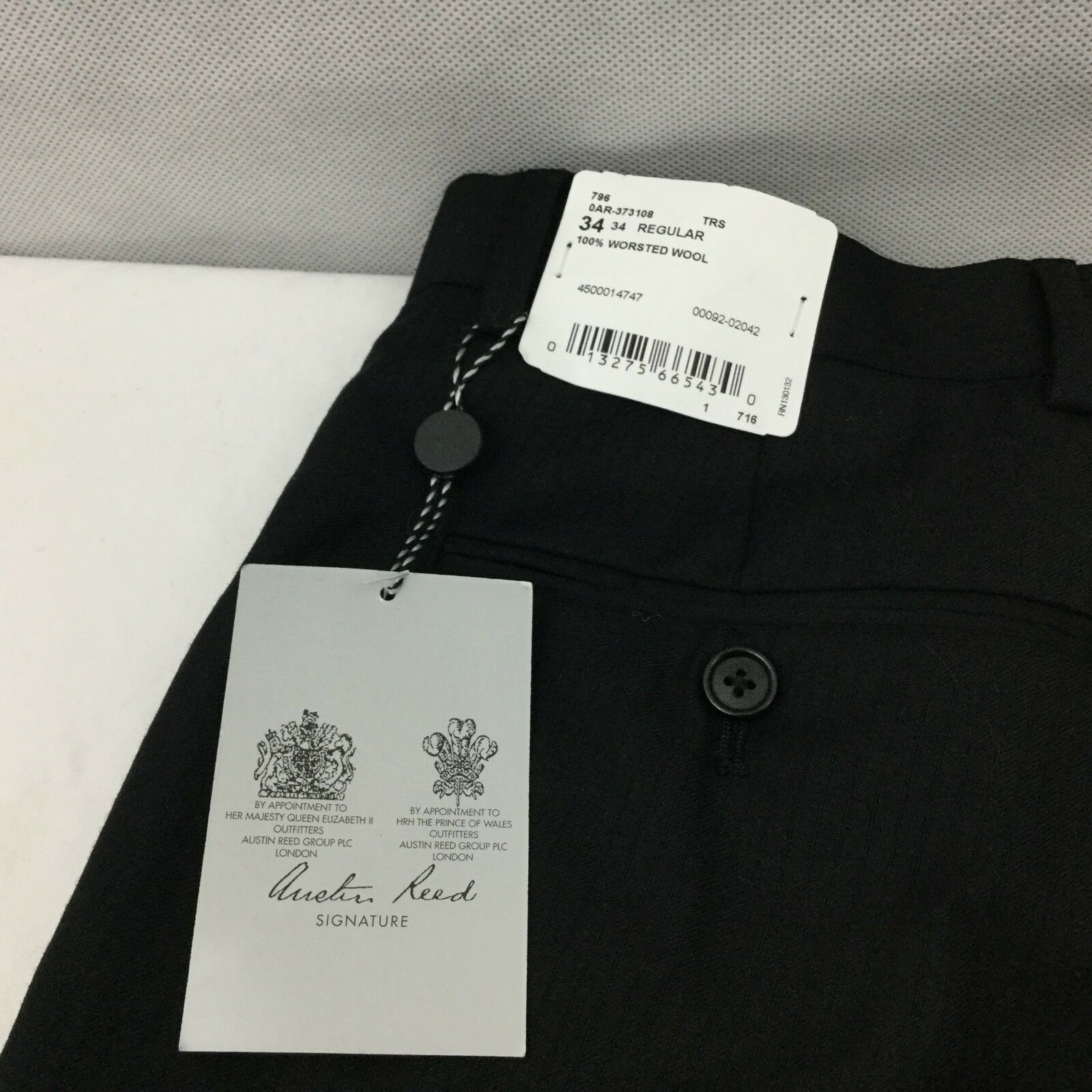 Austin Reed Dress Pants Sz 34 R Black Flat Front Wool Unhemmed Trouser New For Sale Online