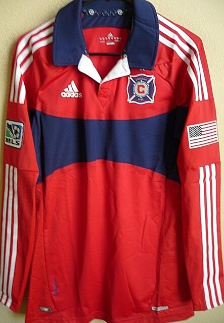 promo code 91b2b c3c78 MLS adidas Techfit PowerWeb Chicago Fire Authentic Soccer Jersey Size 8 (l)