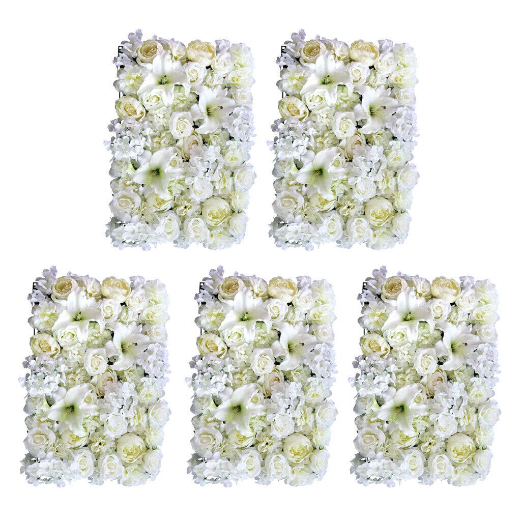 5pcs Fleur Artificielle panneaux muraux Mariage Venue Ornements 60 x 40 cm