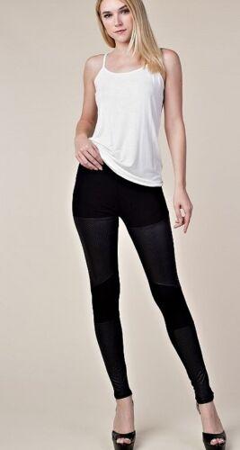 BE VOCAL CRYSTAL SOLID BLACK FAUX LEATHER BIKER LEGGINGS PANTS S M L XL USA