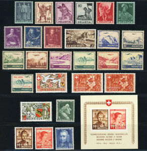 SCHWEIZ-1941-Jahrgang-komplett-tadellos-postfrisch-mit-Block-6-Mi-313