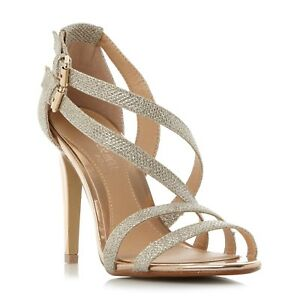 67103899619 Details about NEW Dune Gold Glittery High Heeled Smart Strappy Stiletto  Sandals Shoes Sz 8 41