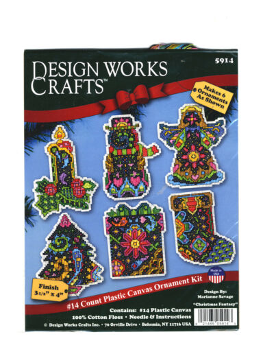 Cross Stitch Kit ~ Design Works Set of 6 Christmas Fantasy Ornaments #DW5914