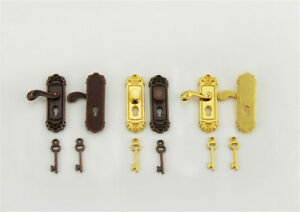 Vintage-Door-Lock-With-Keys-For-1-12-Dollhouse-Miniature-For-Kids-Dolls-Cute