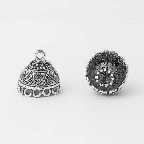 10PCS Antique Silver Lace Lacework Embossment Flower Heart End Cap Bell Beads