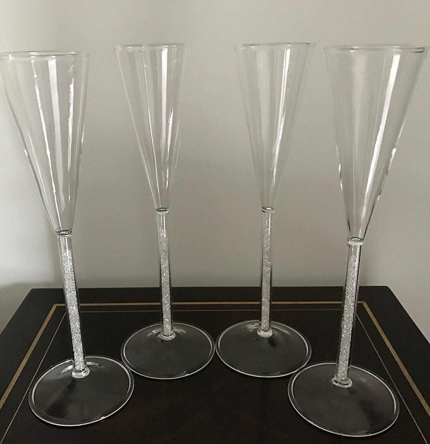 Set Of 4 Exclusive Floating Crystal Glass Champagne Flutes - Glitter Gem Sparkle
