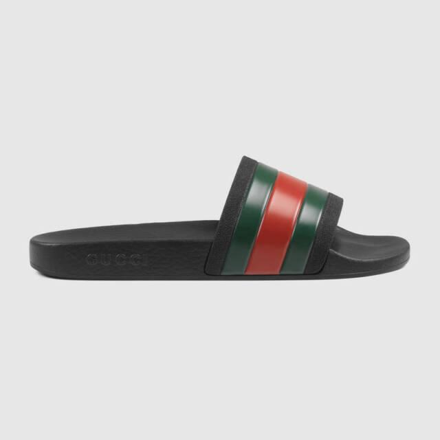 Gucci Pursuit 72 Slides (Men) Size US 6,15 Sandals Flip Flops Slip On Black  pool