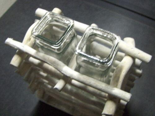 Vase Modern Holz 2 Reagenzgläser Eckig Stiftvasen Glas