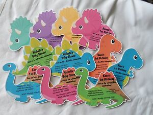 Image Is Loading UNIQUE PERSONALIZED DINOSAUR BIRTHDAY BABY SHOWER INVITATION OR