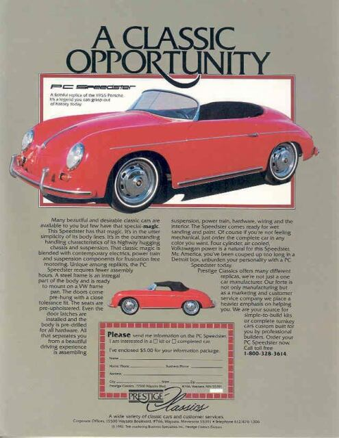 1955 1982 Porsche 356 Speedster PC Kit Car Brochure wp680-M4JE9B