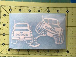 CHEVY-PISS-ON-DODGE-Truck-Vinyl-Decal-DieCut-Sticker-Vehicle-Toolbox-Window-315