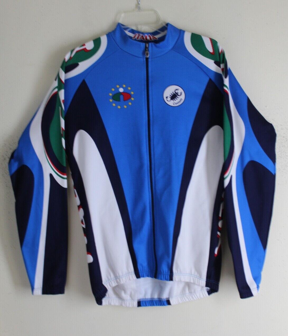 Italia CASTELLI sz XL Big Logo Long Sleeve Fahrrad Biking Jersey Shirt Top