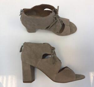 Franco-Sarto-Women-039-s-Beige-Suede-Gazella-Cut-Out-Peep-Toe-Heels-Sz-US-9M-39-UK-7