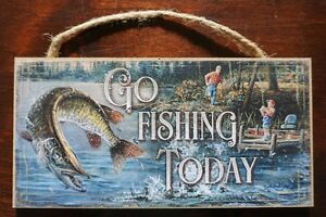 GO FISHING TODAY Rustic Fisherman Cabin Lodge Home Wall Decor Sign NEW
