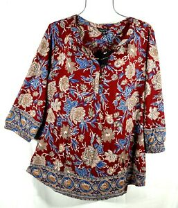 Lucky-Brand-Women-039-s-Wine-Floral-Peasant-Boho-Top-Blouse-Plus-Size-2X-NWT