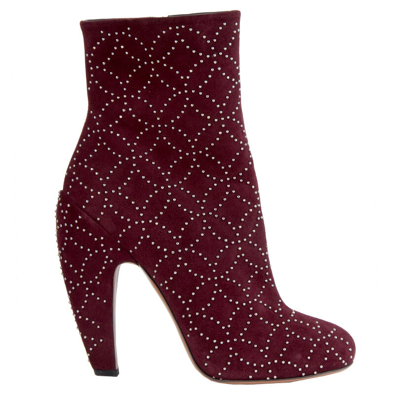 42460 auth ALAIA dark burgundy suede leather STUDDED Ankle Boots Shoes 40.5