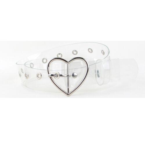 Damen Runde Herz Schnalle transparente Gürtel einstellbare Taillengürtel