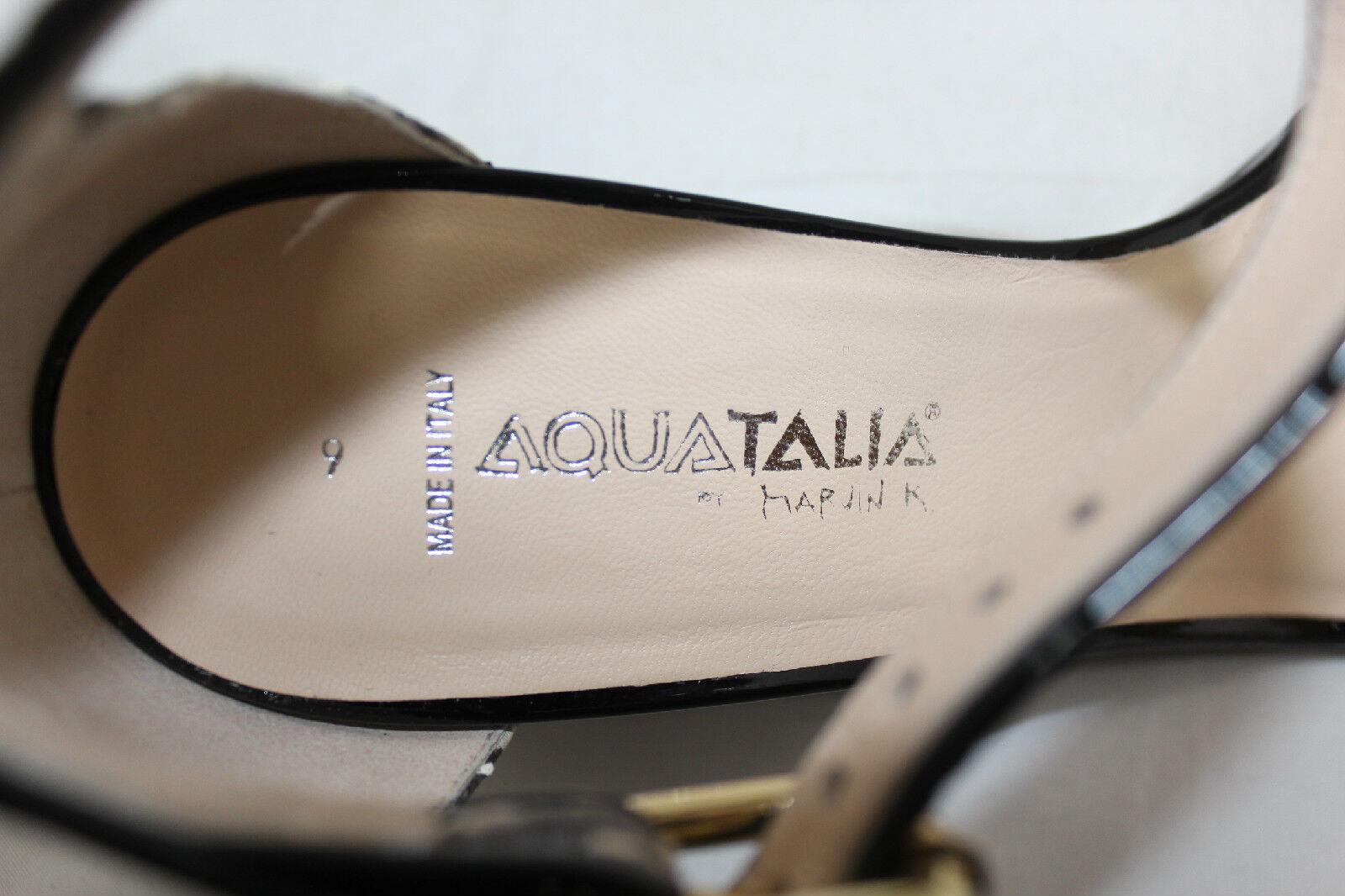 Aquatalia 'quenby' SANDALIA Cuña de Cuña SANDALIA - 9-Roccia Piel De Serpiente Charol Negro (Q8) 84c331