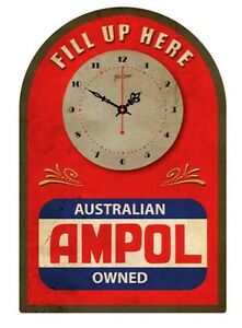 AMPOL VINTAGE  TIN SIGN CLOCK  Fill up here..