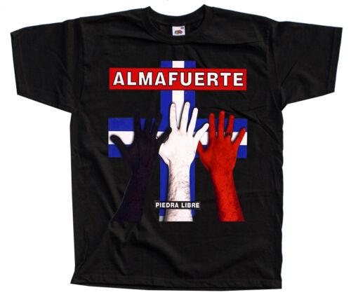 S-5XL album cover DTG T-SHIRT Piedra Libre BLACK WHITE Almafuerte