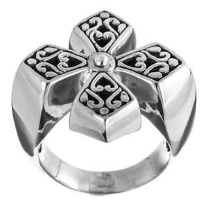 Schnörkel Intarsie Malteserkreuz Design 925 Sterlingsilber Ring In Verschiedenen AusfüHrungen Und Spezifikationen FüR Ihre Auswahl ErhäLtlich Sonstige