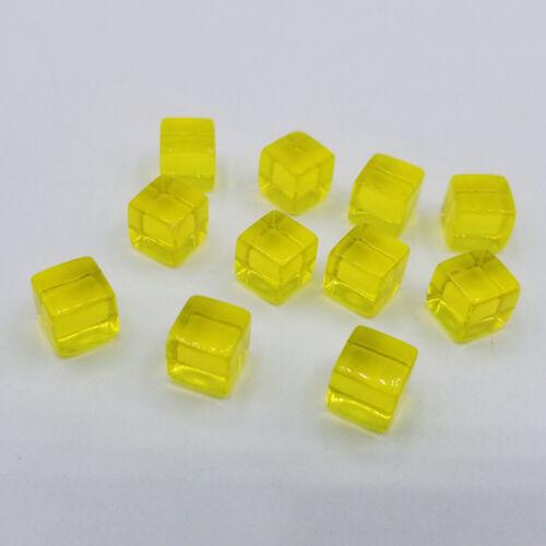 100pcs 8mm Transparent Dice Square Acrylic Cube Block Corner Portable Table Game