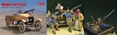 ICM FORD MODEL T LCP 1917 AUSTRALIAN ARMY CAR WWI W DDAY MINIATURE 35663S