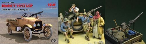 ICM FORD MODEL T LCP 1917 AUSTRALIAN ARMY CAR WWI W//DDAY MINIATURE 35663S