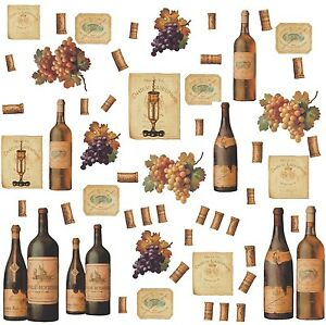 wine bottles 56 big wall stickers dining room decor kitchen bar decals labels ebay. Black Bedroom Furniture Sets. Home Design Ideas