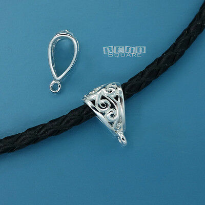 2 PC .925 Sterling Silver Scroll Pendant Bail Connector w/ Open Loop #33499