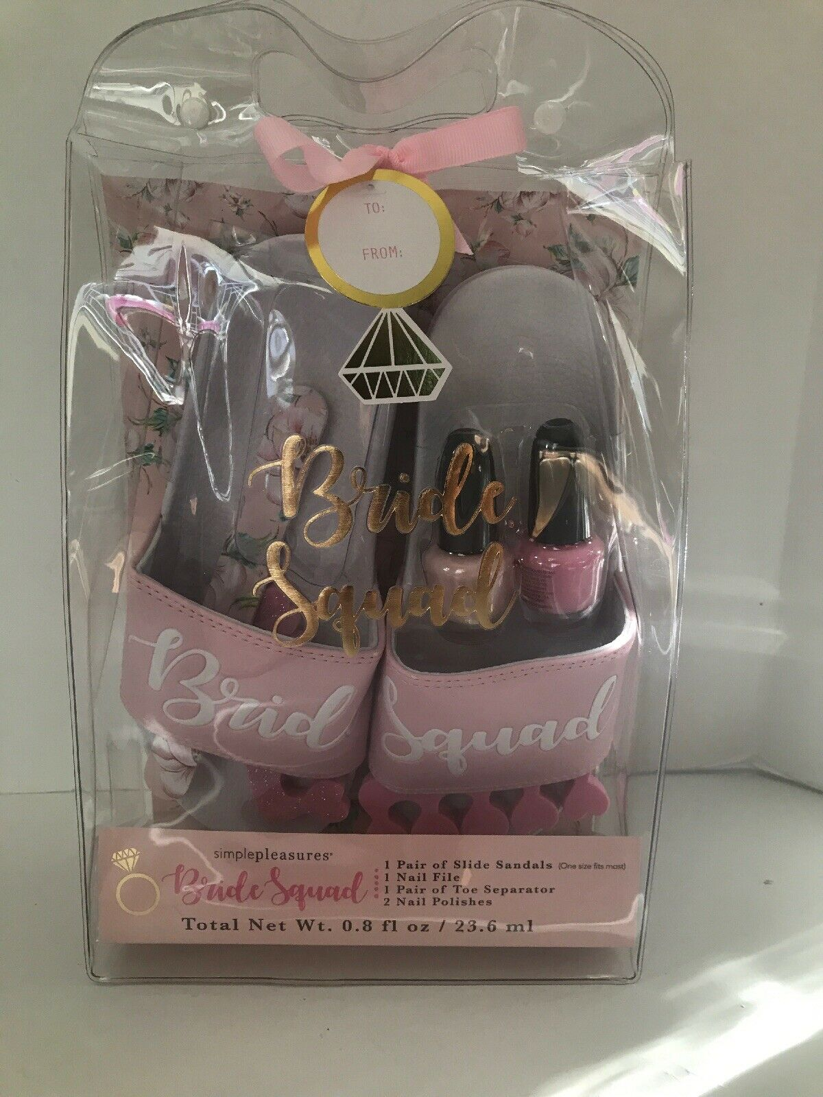 Bridesmaid Gift Pink/White Beach Slides
