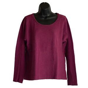 Womens-J-Jill-Maroon-Ribbed-Long-Sleeve-Shirt-Top-Blouse-Size-M-Medium
